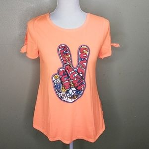 Peace, Love, Music, Sun Split Sleeve T-shirt S NWT